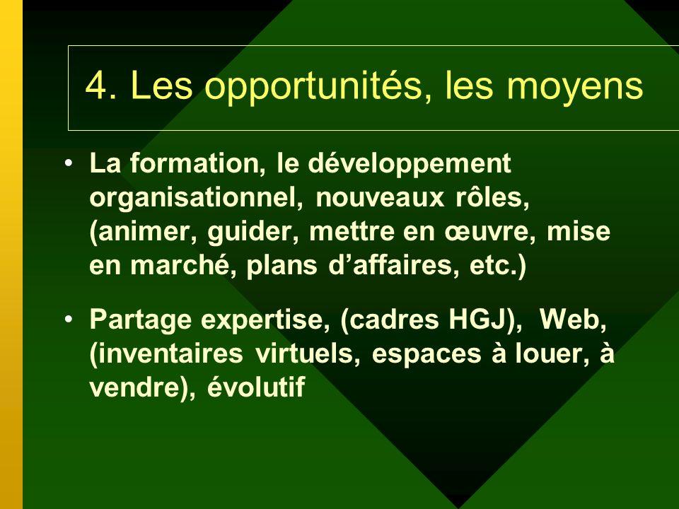 4. Les opportunités, les moyens La formation, le développement organisationnel, nouveaux rôles, (animer, guider, mettre en œuvre, mise en marché, plan