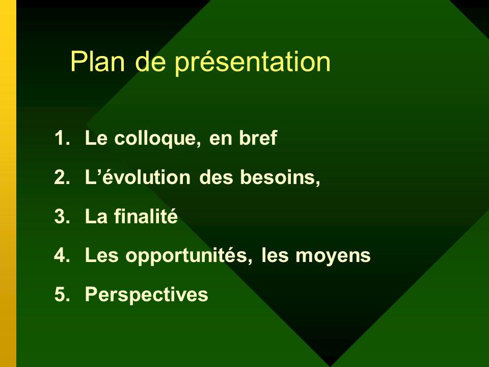 Plan de présentation 1.Le colloque, en bref 2.Lévolution des besoins, 3.La finalité 4.Les opportunités, les moyens 5.Perspectives