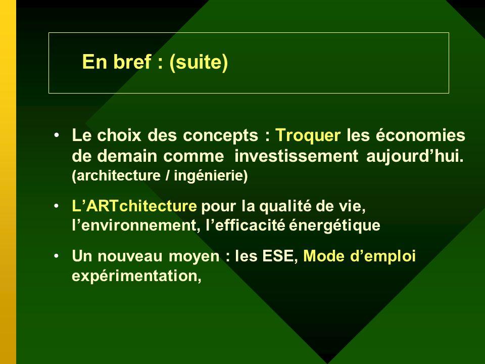 En bref : (suite) Équité du financement immobilier, des indices de performance stratégique Conception novatrice + technologie + temps = confort + efficacité énergétique + économie LT