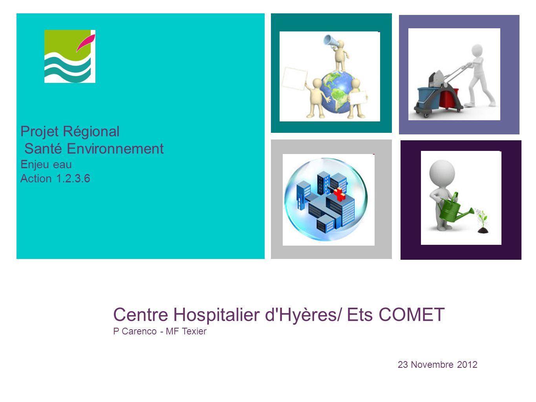 Projet Régional Santé Environnement Enjeu eau Action 1.2.3.6 Centre Hospitalier d'Hyères/ Ets COMET P Carenco - MF Texier 23 Novembre 2012