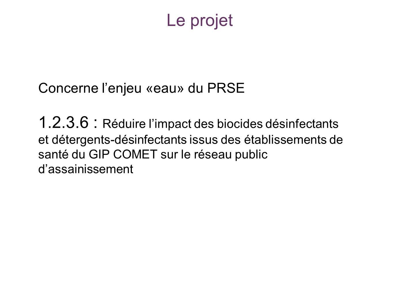 Le projet Concerne lenjeu «eau» du PRSE 1.2.3.6 : Réduire limpact des biocides désinfectants et détergents-désinfectants issus des établissements de s