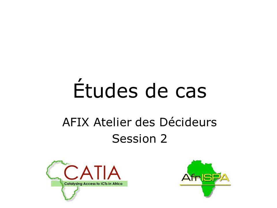 AFIX Decision-makers Workshop: Session 2 Leçons Communes Acces – les FAIs ont besoin de pouvoir etre en mesure : Se relier au PE a un cout raisonnable Obtenir un accès securisé au PE L infrastructure – doit pouvoir dimensionner : Environnement (sécurité, climatisation, energie de secours) Commutateur et couteau (où le serveur d itinéraire est utilisé) Localisation chez lun des pairs peut être approprié – MAIS Jusqu à ce qu un PE devienne mûr, la gouvernance devrait être neutre pour assurer le viabilite.