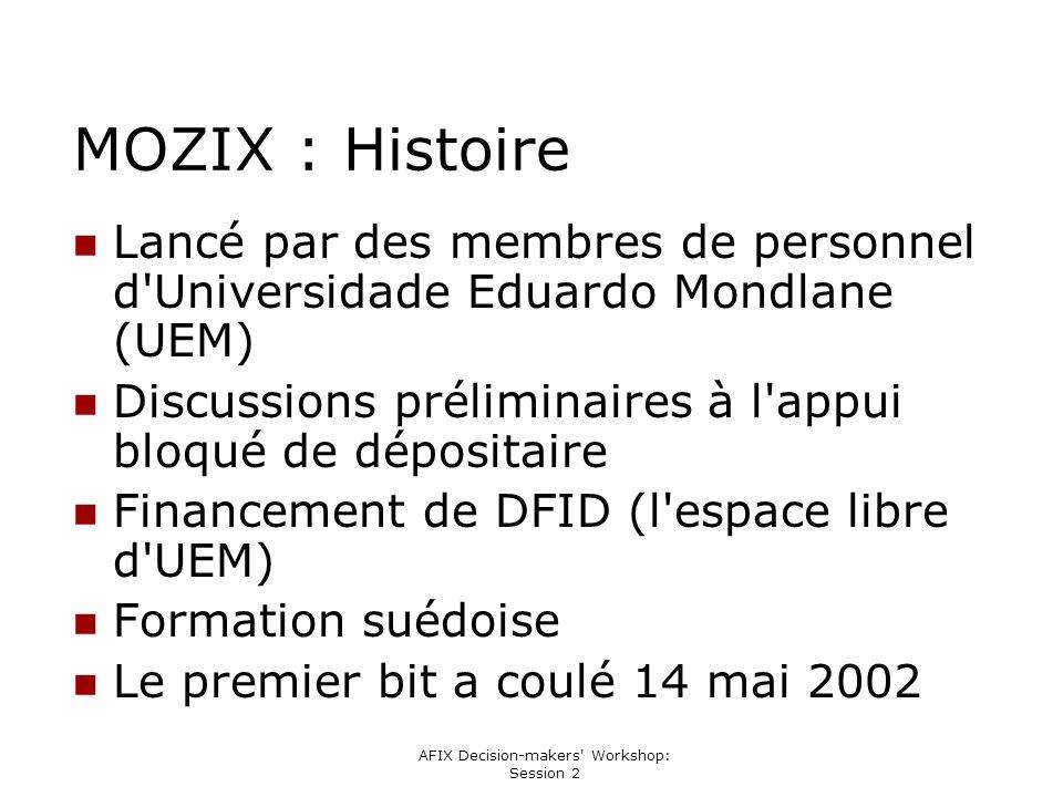 AFIX Decision-makers' Workshop: Session 2 MOZIX : Histoire Lancé par des membres de personnel d'Universidade Eduardo Mondlane (UEM) Discussions prélim