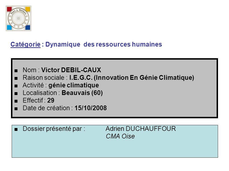 Nom : Victor DEBIL-CAUX Raison sociale : I.E.G.C. (Innovation En Génie Climatique) Activité : génie climatique Localisation : Beauvais (60) Effectif :