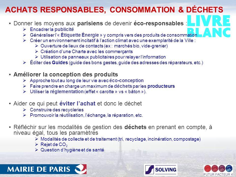 ACHATS RESPONSABLES, CONSOMMATION & DÉCHETS Donner les moyens aux parisiens de devenir éco-responsables : Encadrer la publicité Généraliser l« Étiquette Énergie » y compris vers des produits de consommation Créer un environnement incitatif à laction climat avec une exemplarité de la Ville : Ouverture de lieux de contacts (ex : marchés bio, vide-grenier) Création dune Charte avec les commerçants Utilisation de panneaux publicitaires pour relayer linformation Éditer des Guides (guide des bons gestes, guide des adresses des réparateurs, etc.) Améliorer la conception des produits Approche tout au long de leur vie avec éco-conception Faire prendre en charge un maximum de déchets par les producteurs Utiliser la réglementation (effet « carotte » vs « bâton »).