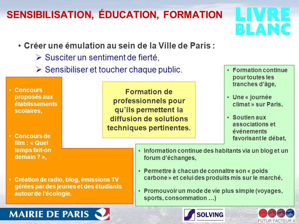 SENSIBILISATION, ÉDUCATION, FORMATION Créer une émulation au sein de la Ville de Paris : Susciter un sentiment de fierté, Sensibiliser et toucher chaque public.