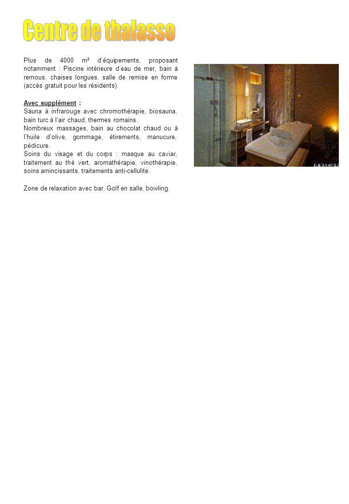 Plus de 4000 m² déquipements, proposant notamment : Piscine intérieure deau de mer, bain à remous, chaises longues, salle de remise en forme (accès gratuit pour les résidents).