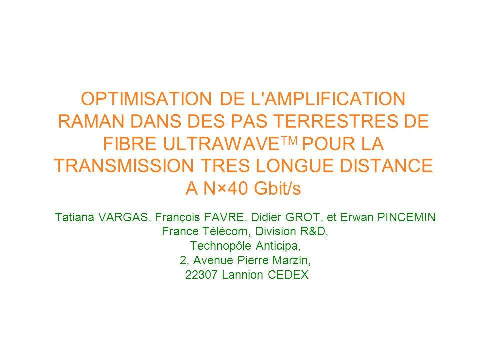 OPTIMISATION DE L'AMPLIFICATION RAMAN DANS DES PAS TERRESTRES DE FIBRE ULTRAWAVE TM POUR LA TRANSMISSION TRES LONGUE DISTANCE A N×40 Gbit/s Tatiana VA
