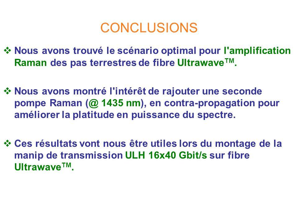 CONCLUSIONS Nous avons trouvé le scénario optimal pour l'amplification Raman des pas terrestres de fibre Ultrawave TM. Nous avons montré l'intérêt de