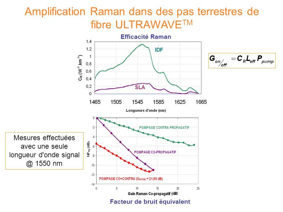 Efficacité Raman Amplification Raman dans des pas terrestres de fibre ULTRAWAVE TM a) b) Facteur de bruit équivalent Mesures effectuées avec une seule