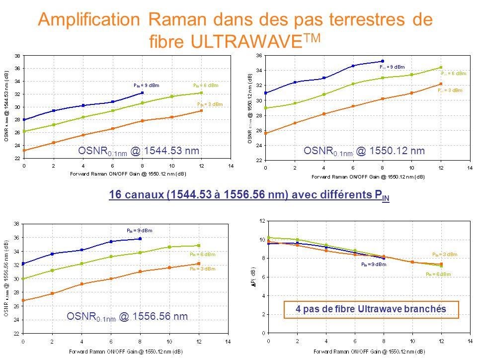 4 pas de fibre Ultrawave branchés 16 canaux (1544.53 à 1556.56 nm) avec différents P IN Amplification Raman dans des pas terrestres de fibre ULTRAWAVE