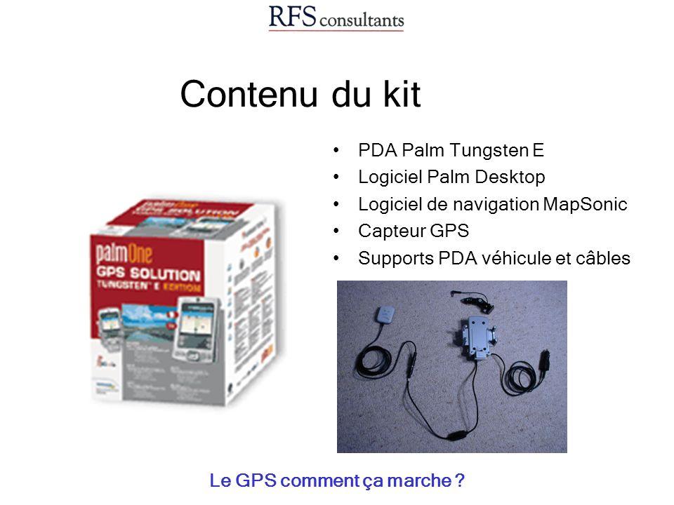 Contenu du kit Le GPS comment ça marche ? PDA Palm Tungsten E Logiciel Palm Desktop Logiciel de navigation MapSonic Capteur GPS Supports PDA véhicule