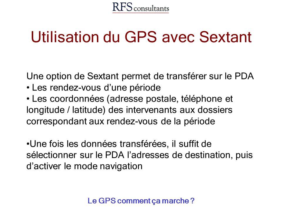 Utilisation du GPS avec Sextant Le GPS comment ça marche ? Une option de Sextant permet de transférer sur le PDA Les rendez-vous dune période Les coor