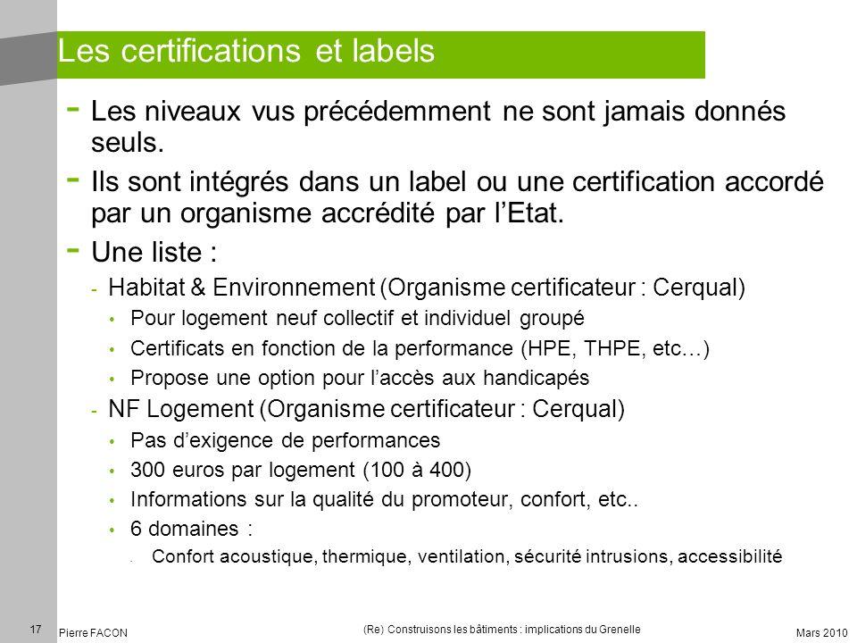 17 Pierre FACON (Re) Construisons les bâtiments : implications du Grenelle Mars 2010 Les certifications et labels - Les niveaux vus précédemment ne so