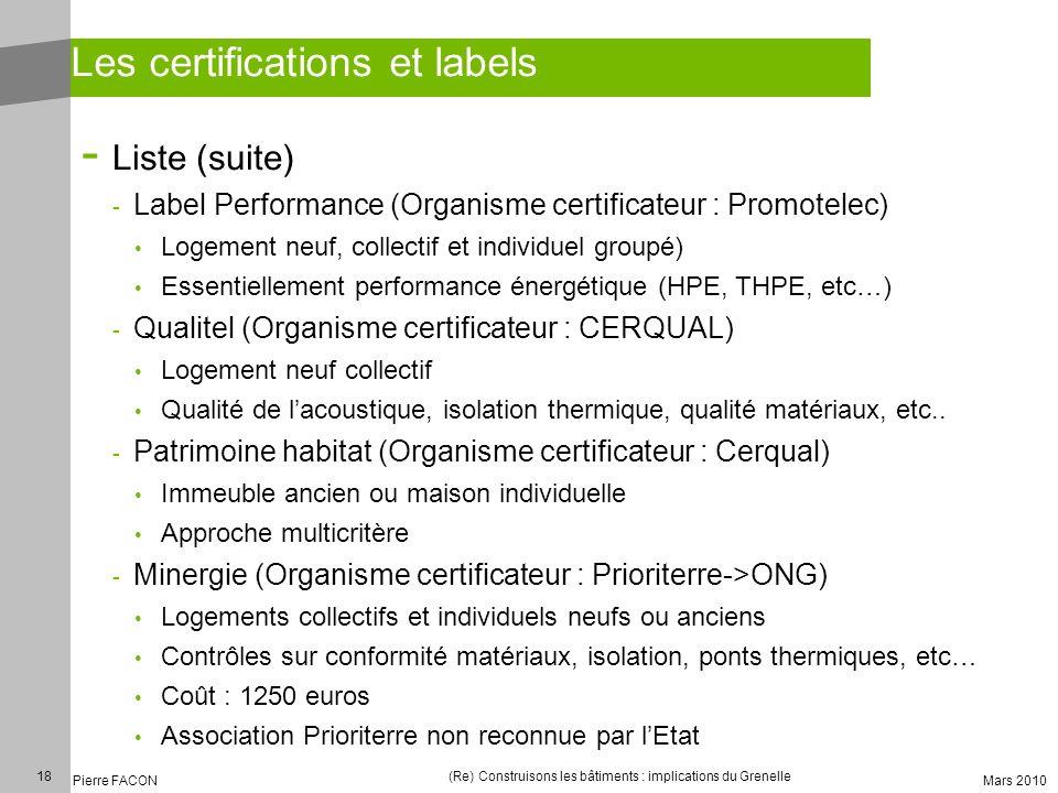 18 Pierre FACON (Re) Construisons les bâtiments : implications du Grenelle Mars 2010 Les certifications et labels - Liste (suite) - Label Performance