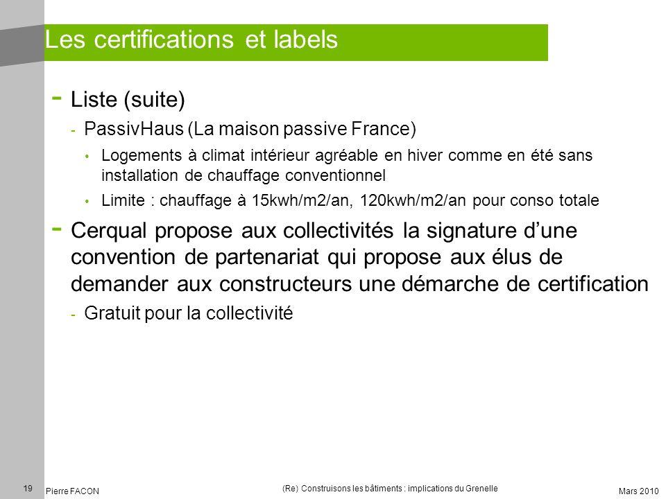 19 Pierre FACON (Re) Construisons les bâtiments : implications du Grenelle Mars 2010 Les certifications et labels - Liste (suite) - PassivHaus (La mai