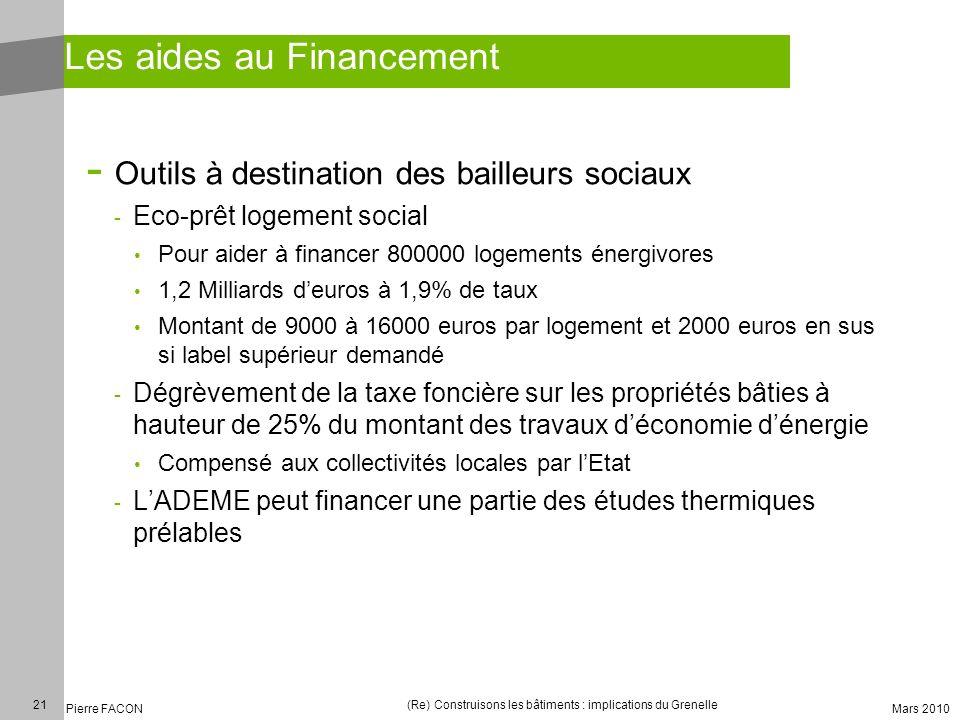 21 Pierre FACON (Re) Construisons les bâtiments : implications du Grenelle Mars 2010 Les aides au Financement - Outils à destination des bailleurs soc