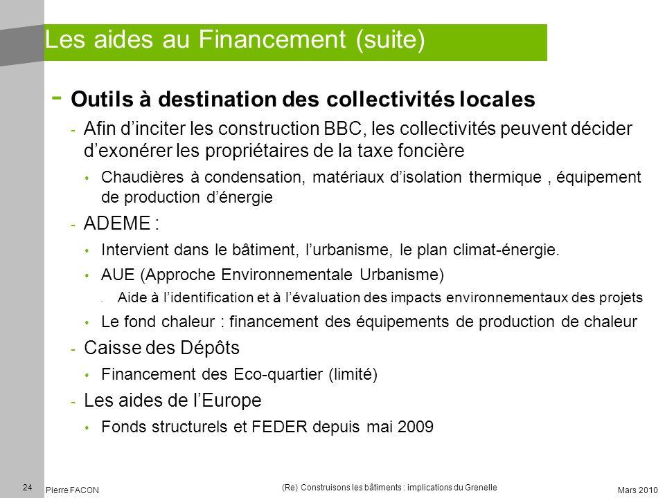 24 Pierre FACON (Re) Construisons les bâtiments : implications du Grenelle Mars 2010 Les aides au Financement (suite) - Outils à destination des colle