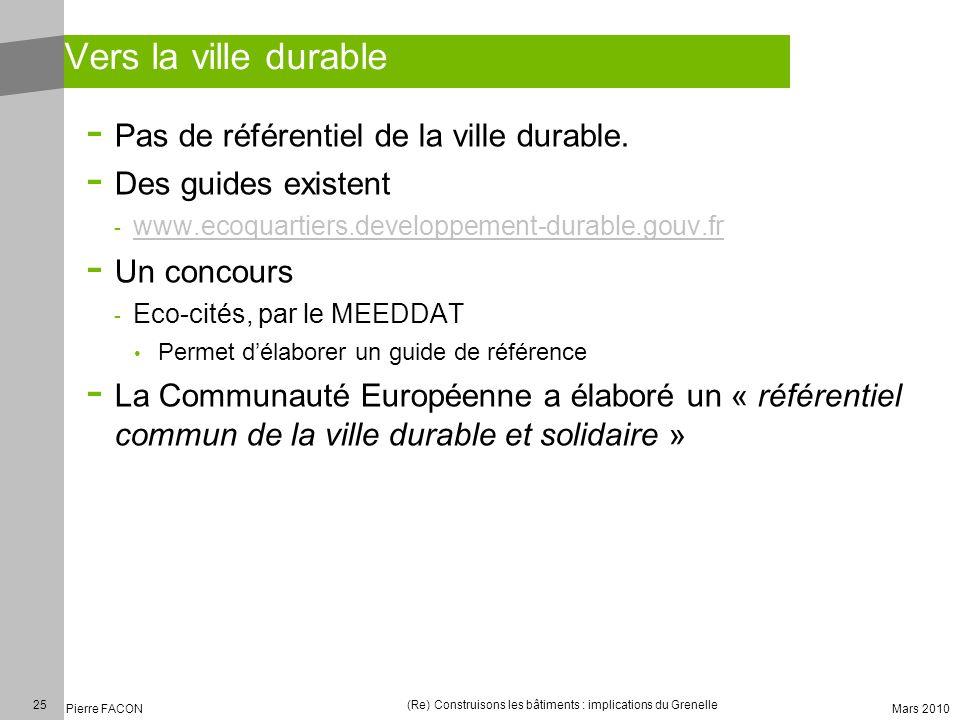 25 Pierre FACON (Re) Construisons les bâtiments : implications du Grenelle Mars 2010 Vers la ville durable - Pas de référentiel de la ville durable. -