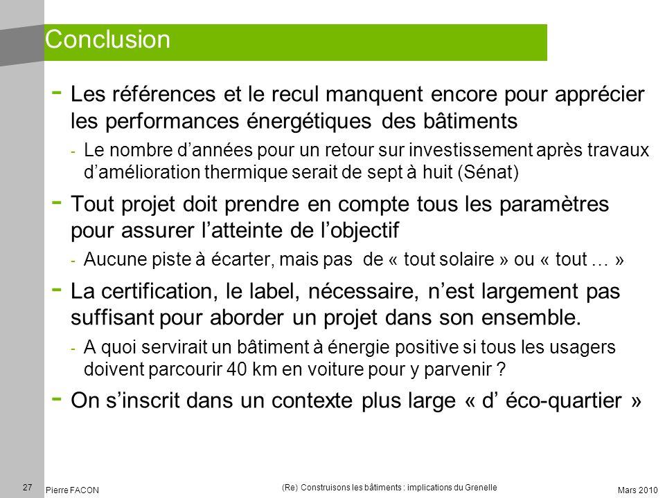 27 Pierre FACON (Re) Construisons les bâtiments : implications du Grenelle Mars 2010 Conclusion - Les références et le recul manquent encore pour appr