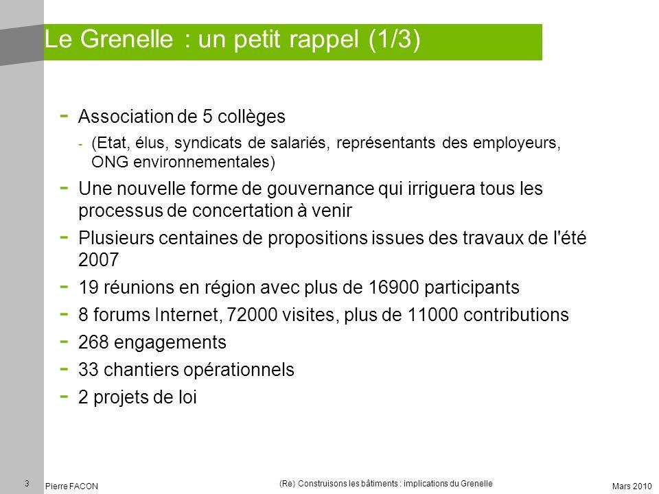 3 Pierre FACON (Re) Construisons les bâtiments : implications du Grenelle Mars 2010 Le Grenelle : un petit rappel (1/3) - Association de 5 collèges -