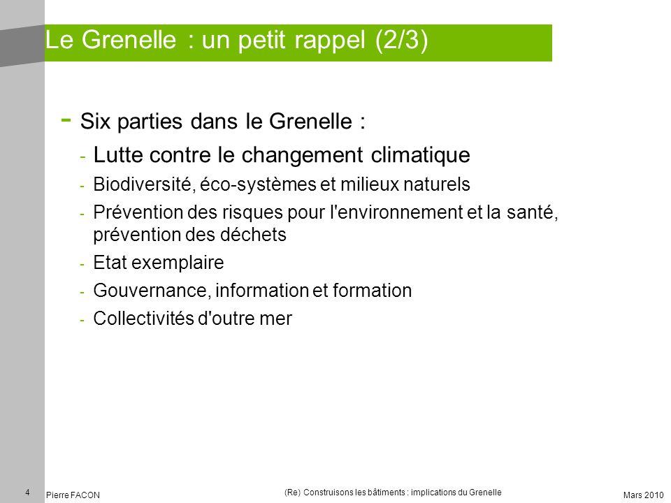 4 Pierre FACON (Re) Construisons les bâtiments : implications du Grenelle Mars 2010 Le Grenelle : un petit rappel (2/3) - Six parties dans le Grenelle