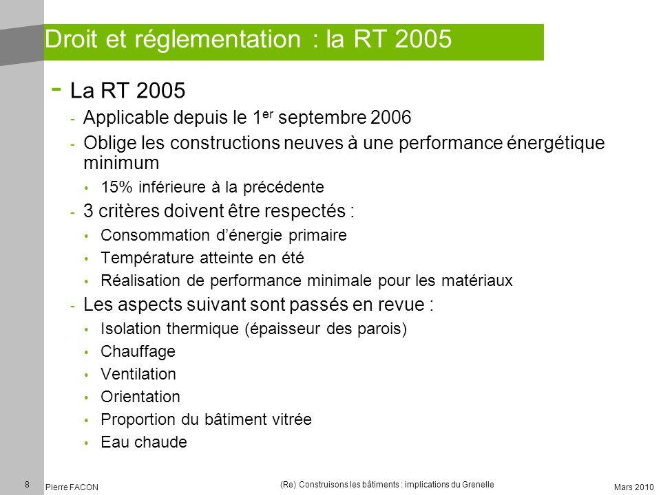8 Pierre FACON (Re) Construisons les bâtiments : implications du Grenelle Mars 2010 Droit et réglementation : la RT 2005 - La RT 2005 - Applicable dep