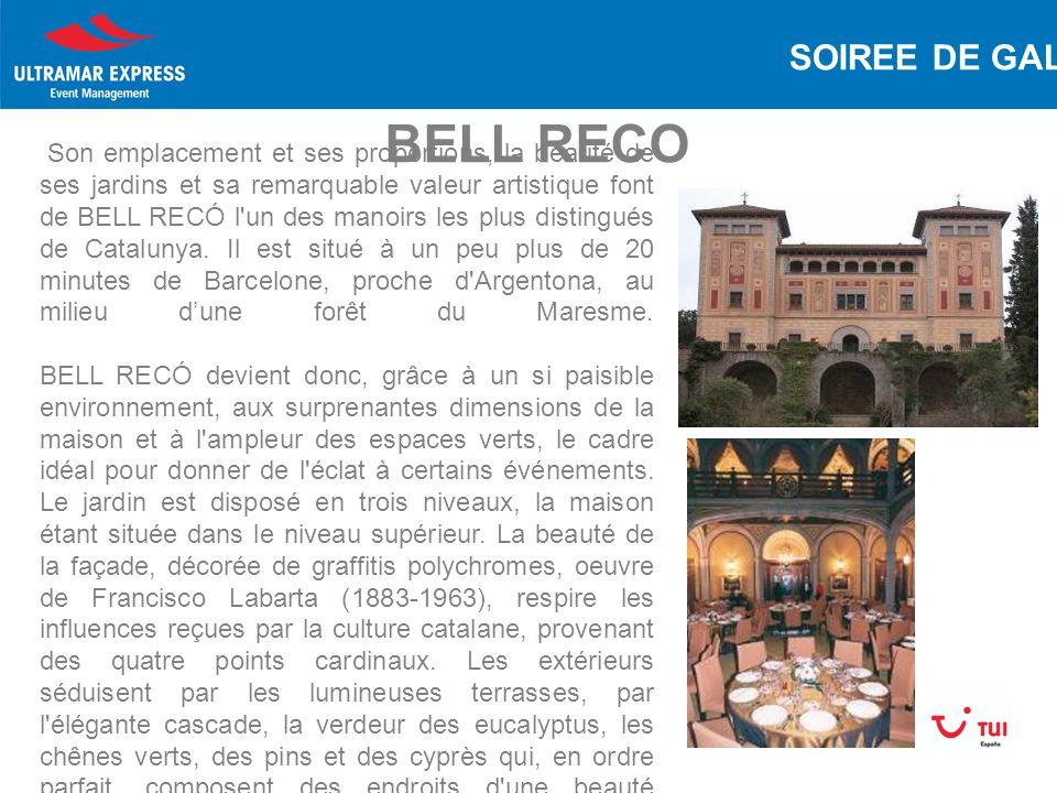 BELL RECO Son emplacement et ses proportions, la beauté de ses jardins et sa remarquable valeur artistique font de BELL RECÓ l un des manoirs les plus distingués de Catalunya.