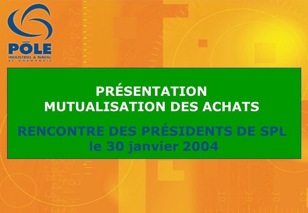 PRÉSENTATION MUTUALISATION DES ACHATS RENCONTRE DES PRÉSIDENTS DE SPL le 30 janvier 2004