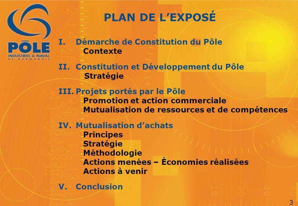 PLAN DE LEXPOSÉ I. Démarche de Constitution du Pôle Contexte II.Constitution et Développement du Pôle Stratégie III.Projets portés par le Pôle Promoti