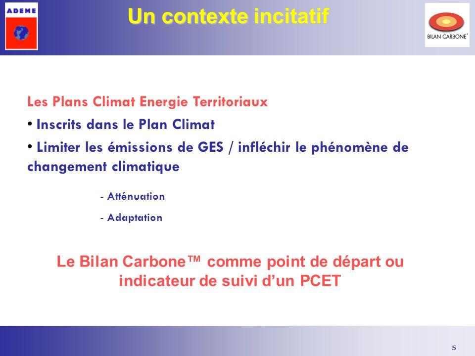 5 Un contexte incitatif Les Plans Climat Energie Territoriaux Inscrits dans le Plan Climat Limiter les émissions de GES / infléchir le phénomène de changement climatique - Atténuation - Adaptation Le Bilan Carbone comme point de départ ou indicateur de suivi dun PCET