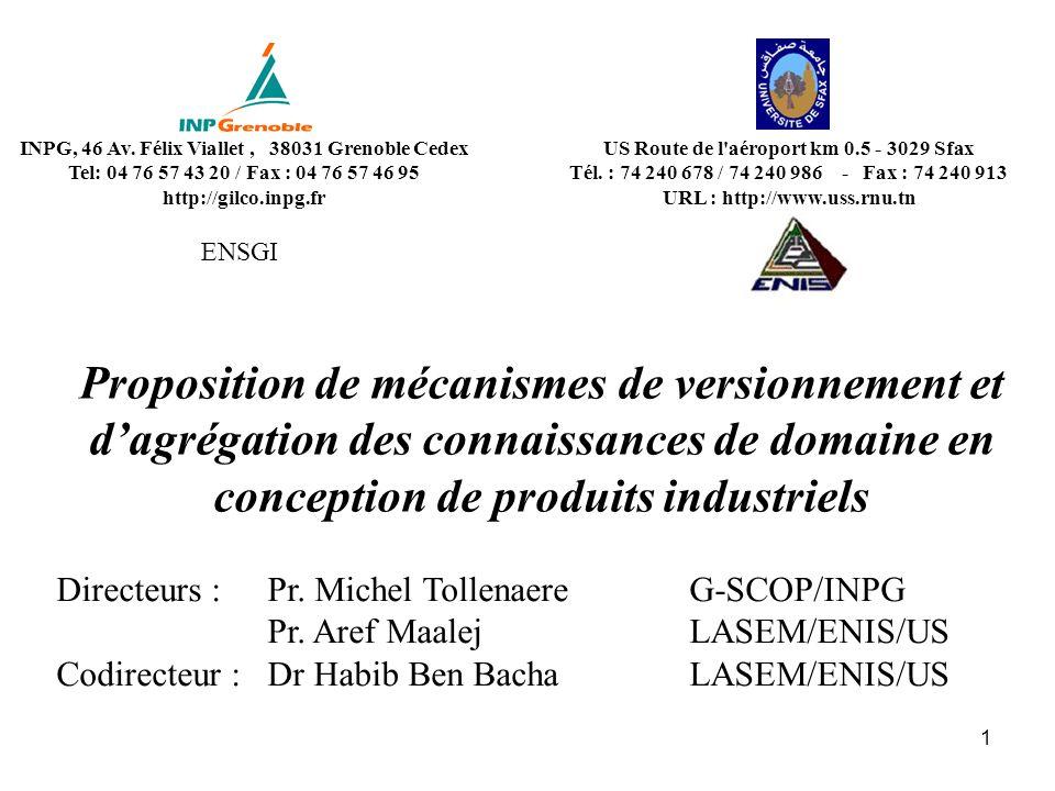 1 Proposition de mécanismes de versionnement et dagrégation des connaissances de domaine en conception de produits industriels Directeurs :Pr. Michel