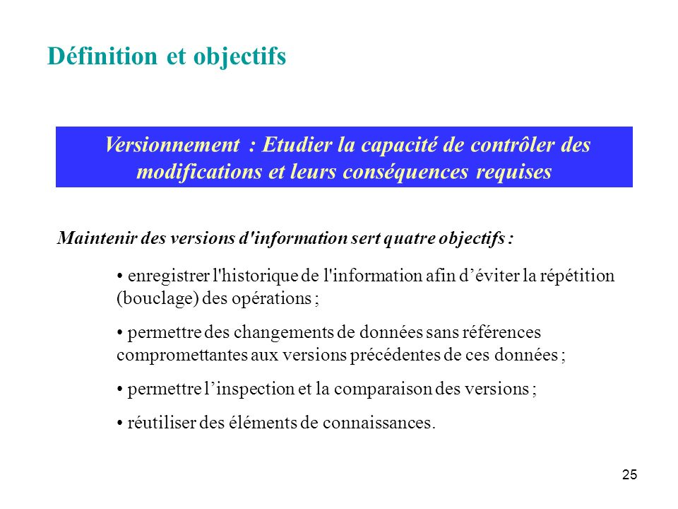 25 Versionnement : Etudier la capacité de contrôler des modifications et leurs conséquences requises enregistrer l'historique de l'information afin dé