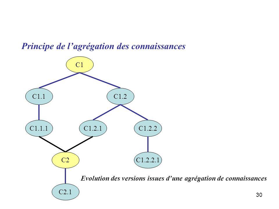 30 Principe de lagrégation des connaissances C1 C1.1 C1.1.1 C1.2 C1.2.1C1.2.2 C1.2.2.1C2 C2.1 Evolution des versions issues dune agrégation de connais