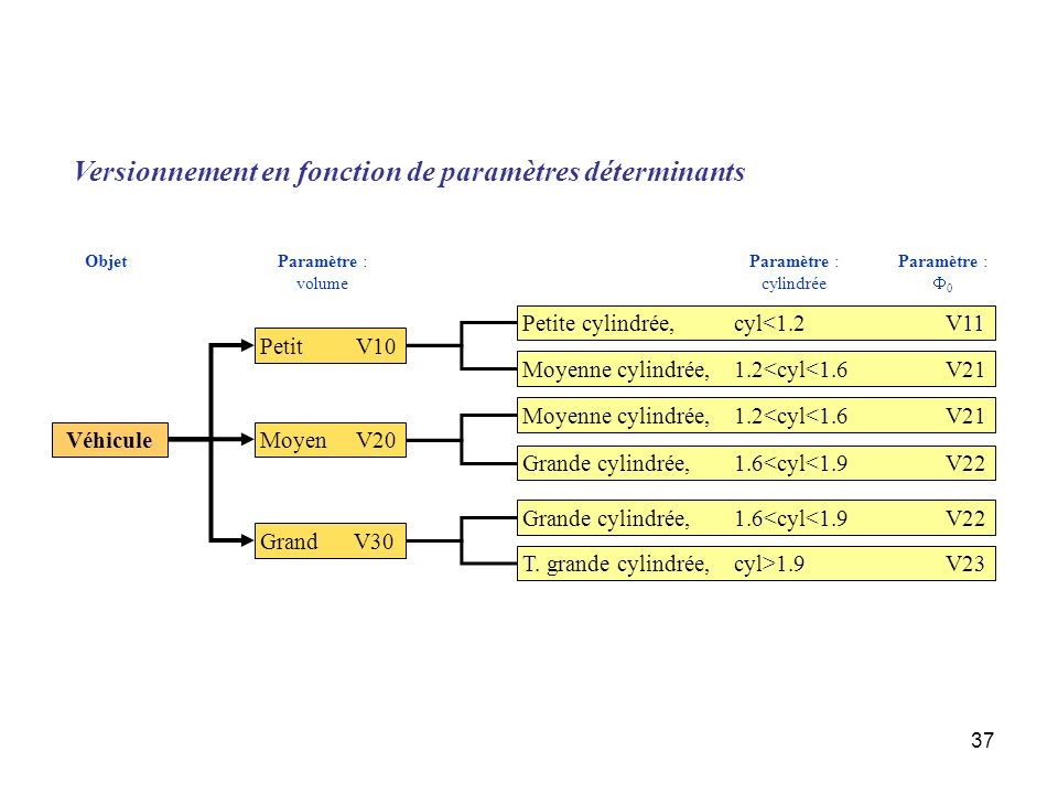 37 Versionnement en fonction de paramètres déterminants Véhicule Petit V10 Grand V30 Petite cylindrée,cyl<1.2V11 Moyenne cylindrée,1.2<cyl<1.6V21 Moye
