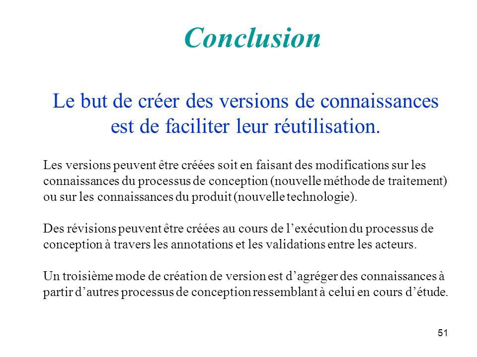 51 Conclusion Les versions peuvent être créées soit en faisant des modifications sur les connaissances du processus de conception (nouvelle méthode de
