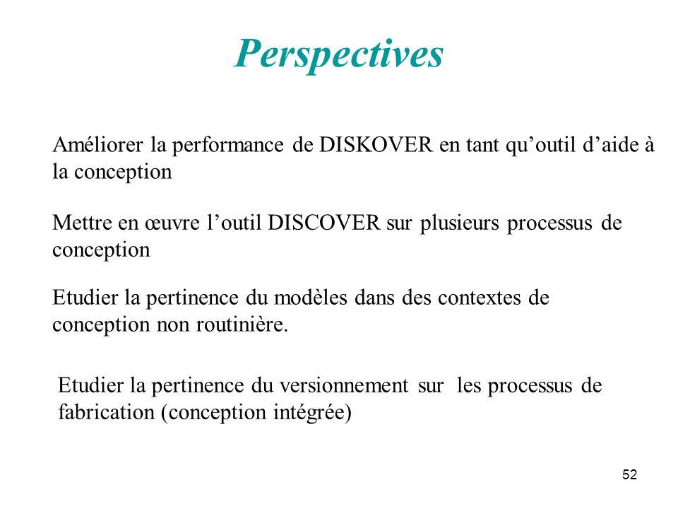52 Perspectives Améliorer la performance de DISKOVER en tant quoutil daide à la conception Mettre en œuvre loutil DISCOVER sur plusieurs processus de