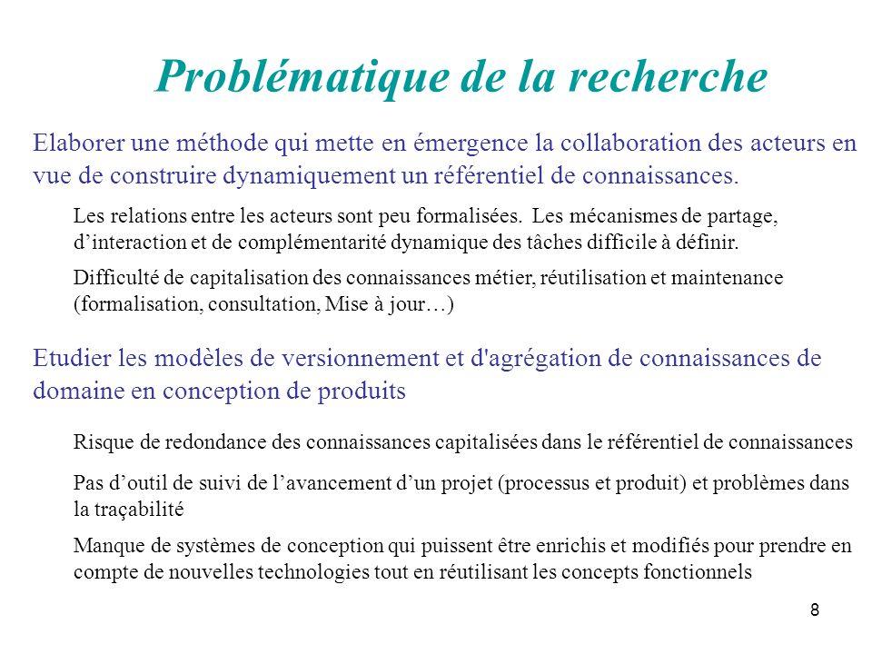 8 Problématique de la recherche Etudier les modèles de versionnement et d'agrégation de connaissances de domaine en conception de produits Elaborer un