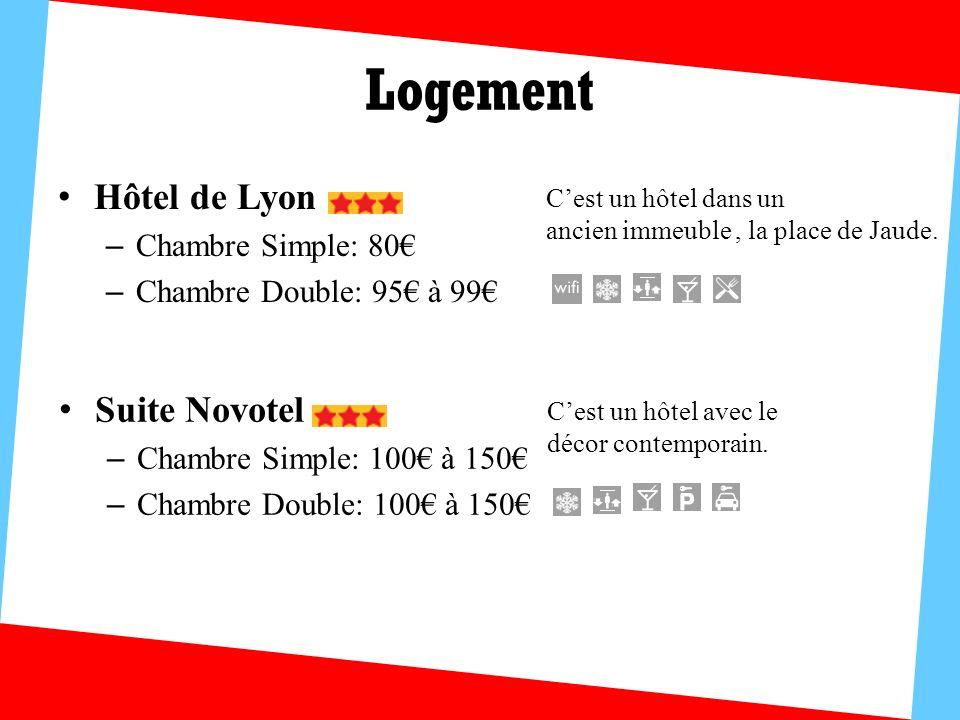 Logement Hôtel de Lyon – Chambre Simple: 80 – Chambre Double: 95 à 99 Cest un hôtel dans un ancien immeuble, la place de Jaude. Suite Novotel – Chambr
