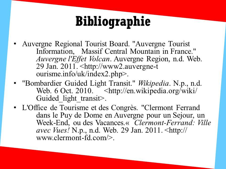 Bibliographie Auvergne Regional Tourist Board.