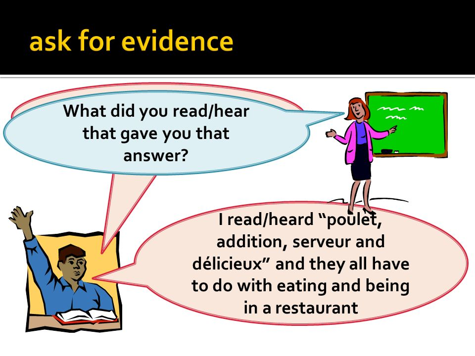 The passage is about eating at a restaurant. What did you read/hear that gave you that answer? I read/heard poulet, addition, serveur and délicieux an