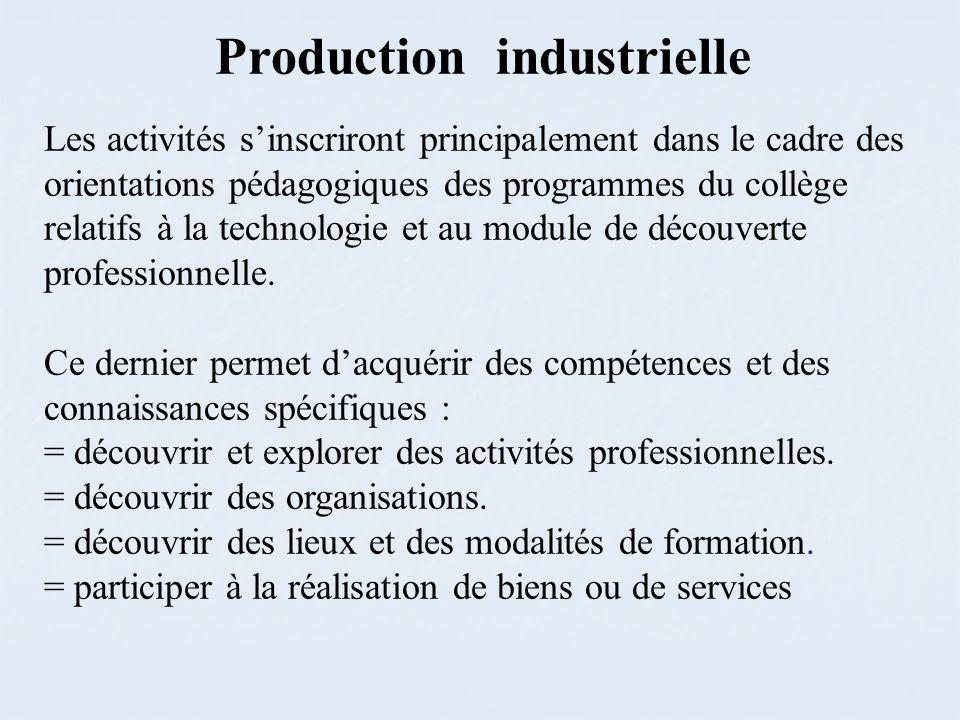 Production industrielle Les activités sinscriront principalement dans le cadre des orientations pédagogiques des programmes du collège relatifs à la technologie et au module de découverte professionnelle.