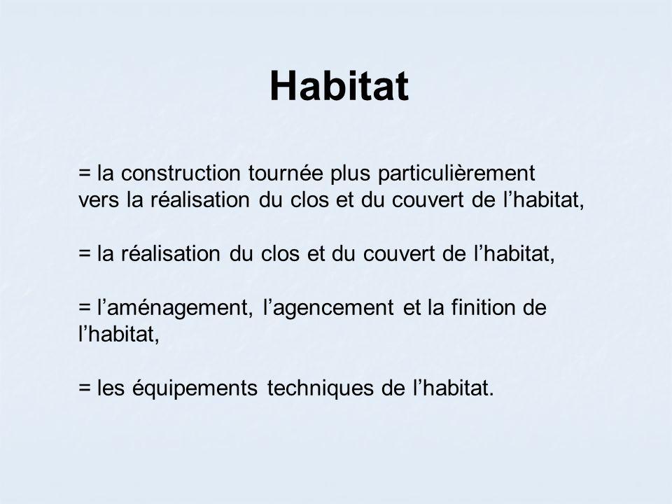 Habitat = la construction tournée plus particulièrement vers la réalisation du clos et du couvert de lhabitat, = la réalisation du clos et du couvert de lhabitat, = laménagement, lagencement et la finition de lhabitat, = les équipements techniques de lhabitat.