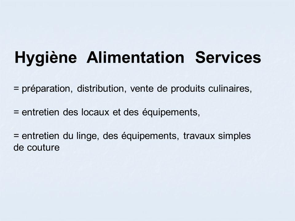 Hygiène Alimentation Services = préparation, distribution, vente de produits culinaires, = entretien des locaux et des équipements, = entretien du linge, des équipements, travaux simples de couture