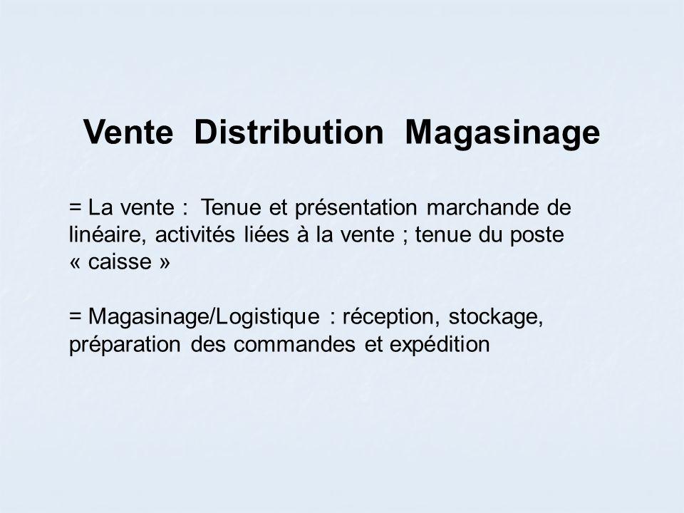 Vente Distribution Magasinage = La vente : Tenue et présentation marchande de linéaire, activités liées à la vente ; tenue du poste « caisse » = Magasinage/Logistique : réception, stockage, préparation des commandes et expédition