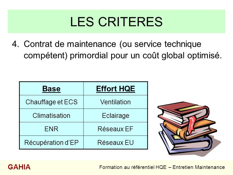 LES CRITERES 4.Contrat de maintenance (ou service technique compétent) primordial pour un coût global optimisé. Formation au référentiel HQE – Entreti