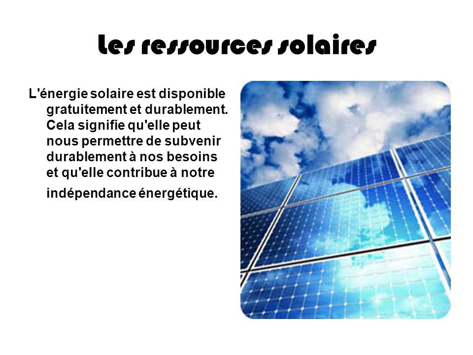 Les ressources solaires L'énergie solaire est disponible gratuitement et durablement. Cela signifie qu'elle peut nous permettre de subvenir durablemen