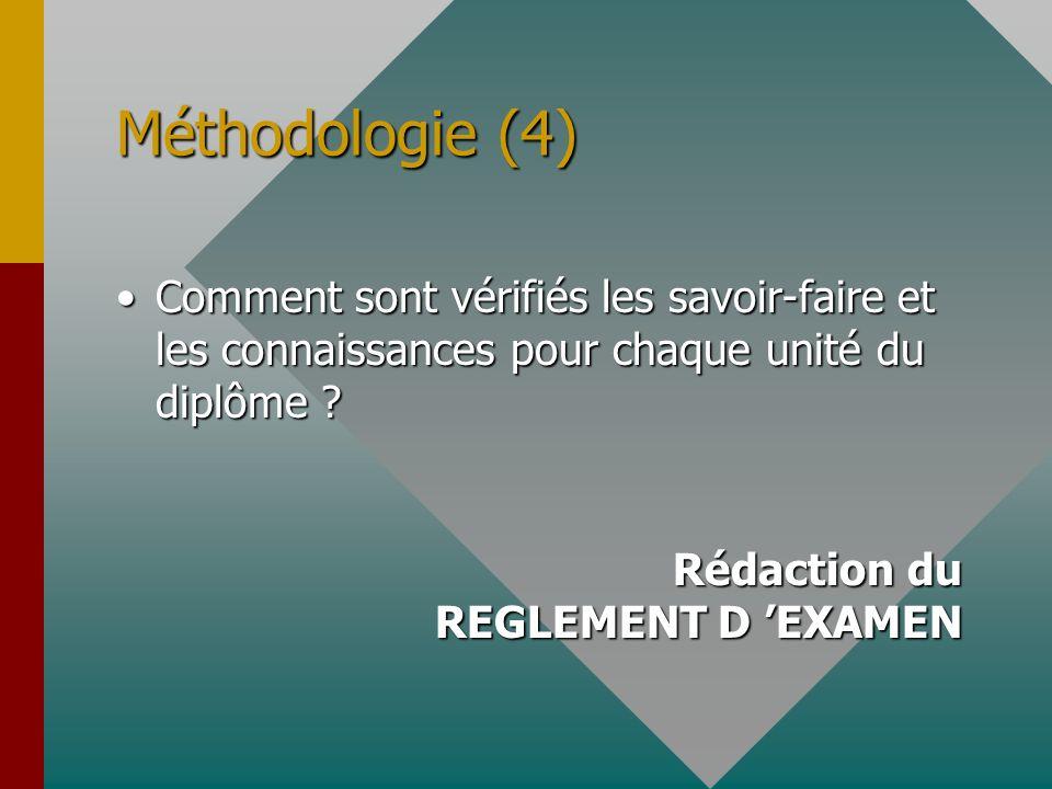 Méthodologie (4) Comment sont vérifiés les savoir-faire et les connaissances pour chaque unité du diplôme ?Comment sont vérifiés les savoir-faire et l