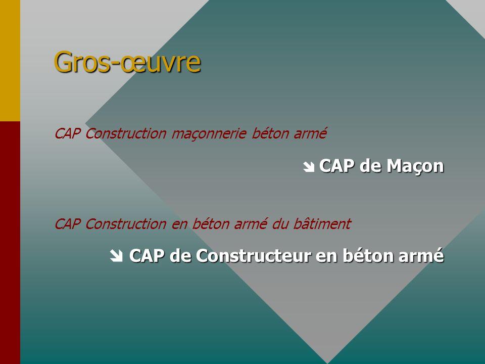 Gros-œuvre CAP Construction maçonnerie béton armé CAP de Maçon CAP de Maçon CAP Construction en béton armé du bâtiment CAP de Constructeur en béton ar