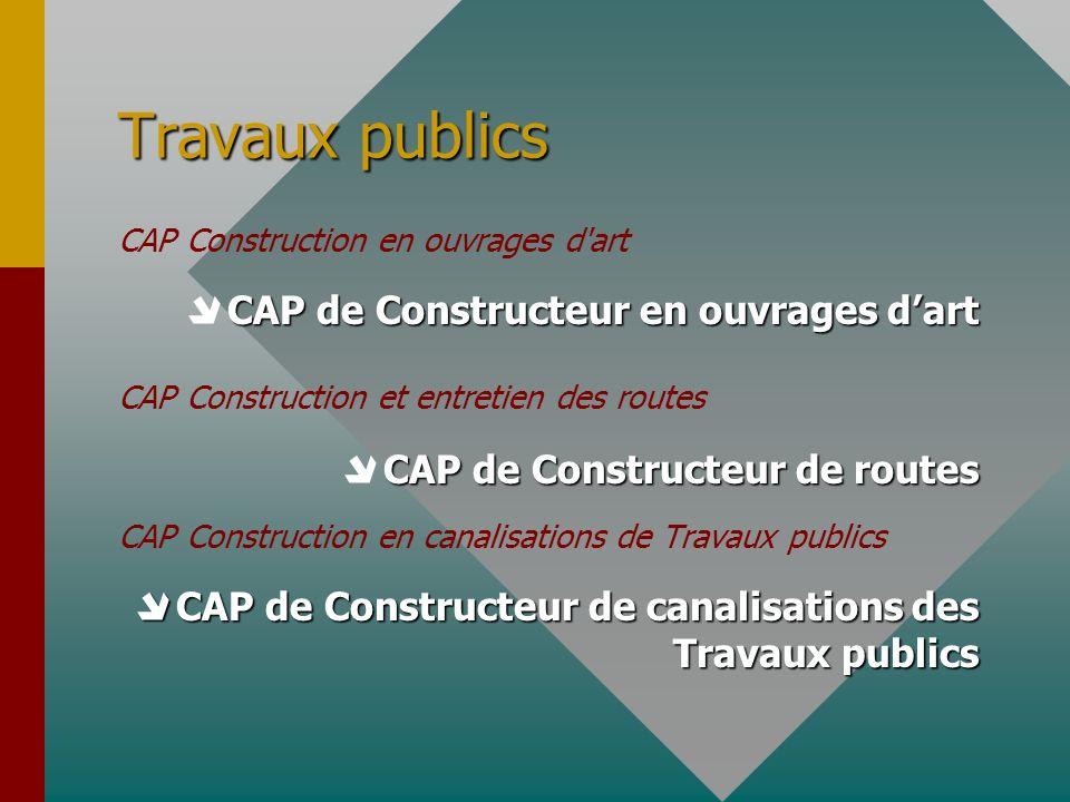 Travaux publics CAP Construction en ouvrages d'art CAP de Constructeur en ouvrages dart CAP Construction et entretien des routes CAP de Constructeur d